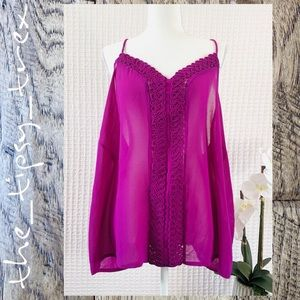 Forever 21 Magenta Sheer Camisole Top 3X